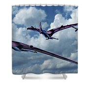 Pterodactyls In Flight Shower Curtain