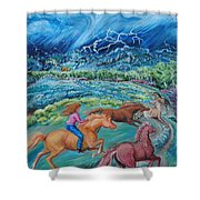 Racing The Lightning Home Shower Curtain