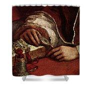 Raphael Pope Leo X With Cardinals Giulio De  Medici And Luigi De  Rossi  Shower Curtain
