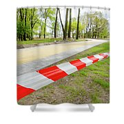 Red And White Barricade Tape Shower Curtain