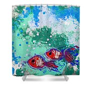 2 Red Fish Shower Curtain