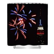 Red White And Blue Shower Curtain by Susan Candelario