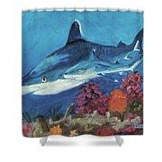 2 Reef Sharks Shower Curtain