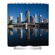 Reflection Of Skyscrapers On Water Shower Curtain
