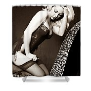 Retro Pinup Shower Curtain by Clayton Bruster