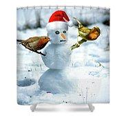 2 Robins On A Snow Man Shower Curtain