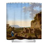 Roman Landscape With Ruins And Travellers Shower Curtain