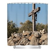 Rosary Hanging On A Small Wooden Cross On A Stone Wall Shower Curtain