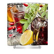 Rosehip Tea With Honey And Lemon In Glass Shower Curtain