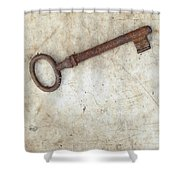 Rusty Key On Old Parchment Shower Curtain