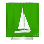 Sailboat In Green And White Shower Curtain