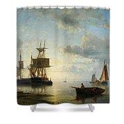 Sailing Ships At Dusk Shower Curtain