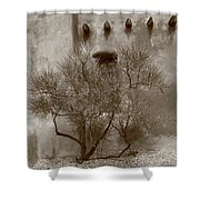 Santa Fe - Adobe Building And Tree Shower Curtain