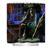Scary Old Witch With A Cauldron Shower Curtain