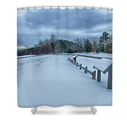 Scenic Views At Brown Mountain Overlook In North Carolina At Sun Shower Curtain