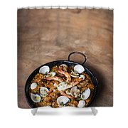 Seafood And Rice Paella Traditional Spanish Food Shower Curtain