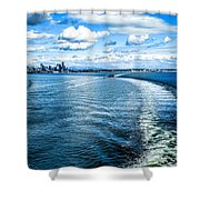 Seattle Washington Cityscape Skyline On Partly Cloudy Day Shower Curtain