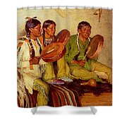 Sharp Joseph Henry Hunting Song Taos Indians Joseph Henry Sharp Shower Curtain