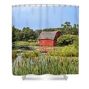 Sinking Red Barn #6 Shower Curtain
