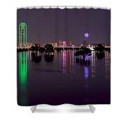 Skyline Of Dallas, Texas At Night Across Flooded Trinity River Shower Curtain