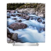 Slow Shutter Photo Of Figarella River At Bonifatu In Corsica Shower Curtain
