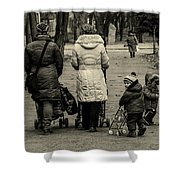 Small Child Looking Backward Shower Curtain