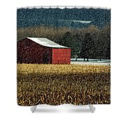 Snowy Red Barn In Winter Shower Curtain