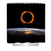 Solar Eclipse From Above The Earth Shower Curtain