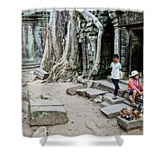 Souvenir Trinket Stall Vendor In Angkor Wat Famous Temple Cambod Shower Curtain