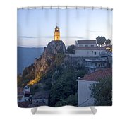 Spectacular Meteora Rock Formations Shower Curtain