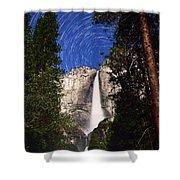 Star Trails At Yosemite Falls Shower Curtain