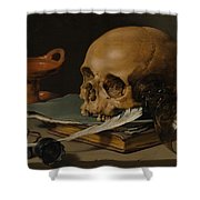 Still Life With A Skull And A Writing Quill Shower Curtain