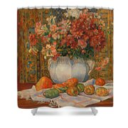 Still Life With Flowers And Prickly Pears Shower Curtain