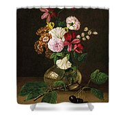 Still Life With Flowers In A Glass Vase And Cherry Twig Shower Curtain