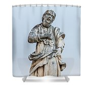 Stone Statue In The Old Town Perast  Shower Curtain