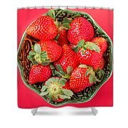Strawberries In A Wooden Bowl On The Old Wooden Table Shower Curtain