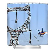 Stringing Power Cable By Helicopter Shower Curtain