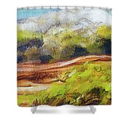 Structure Of Wooden Log Covered With Moss On The Riverside, Closeup Painting Detail. Shower Curtain