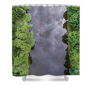 Summer Landscape. Green Trees At Riverbank In Poland. Shower Curtain