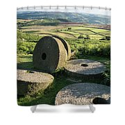 Summer Landscape Image Of Millstones On Top Of Stanage Edge In P Shower Curtain
