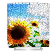 Sunflowers Abstract Shower Curtain