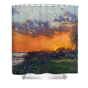 Sunset At Gratwick Waterfront Park Shower Curtain
