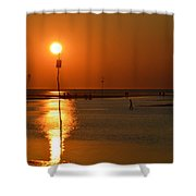 Sunset At Rock Harbor Shower Curtain