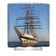 Tall Ship Anchored Off Penzance Shower Curtain