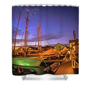 Tall Ships And Yahts Moored In Newport Harbor Shower Curtain