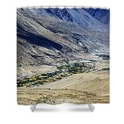 Tangsey Village Landscape Of Leh Ladakh Jammu And Kashmir India Shower Curtain