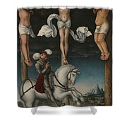 The Crucifixion With The Converted Centurion Shower Curtain