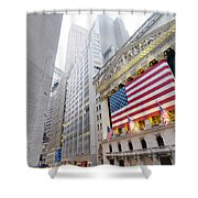 The Facade Of The New York Stock Shower Curtain
