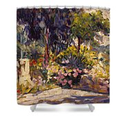 The Flowered Terrace Shower Curtain