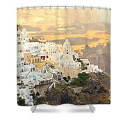The Golden Hour In Fira Shower Curtain